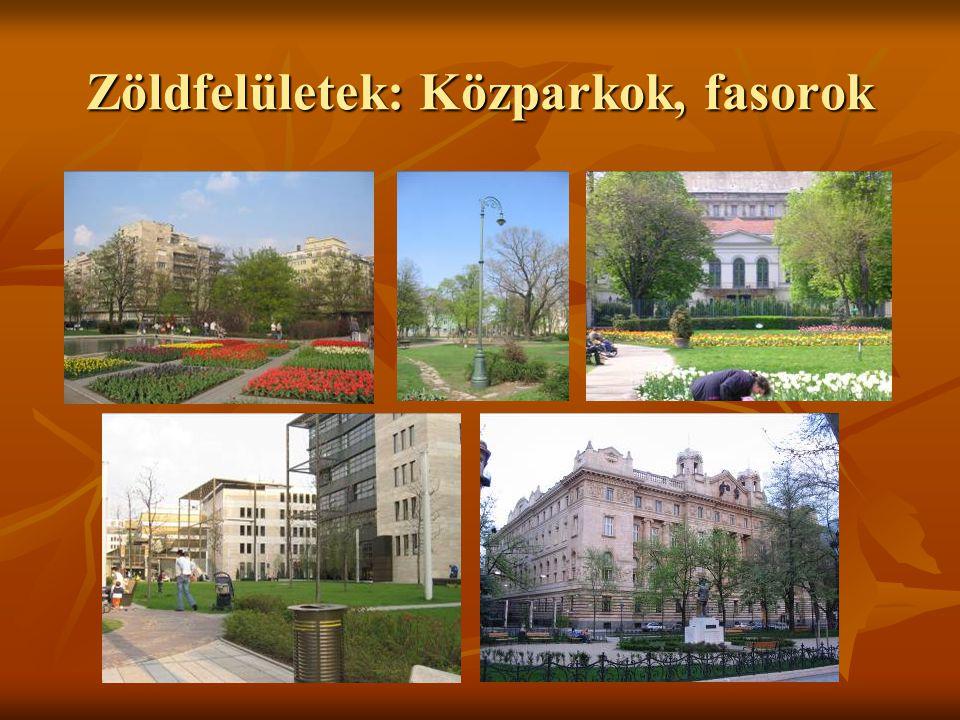 Zöldfelületek: Közparkok, fasorok