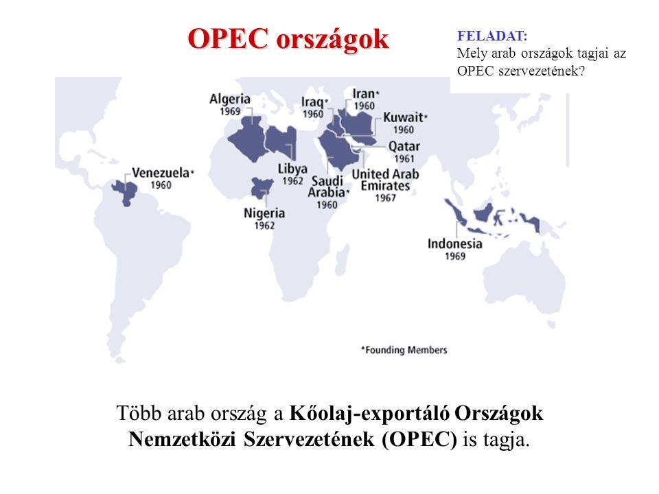 FELADAT: Mely arab országok tagjai az OPEC szervezetének