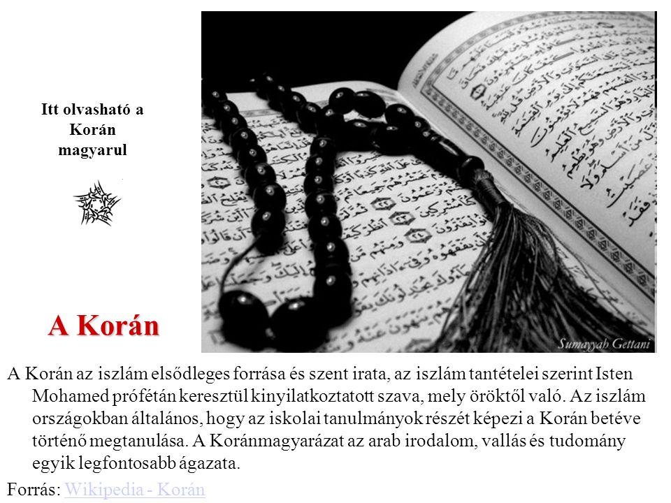 Itt olvasható a Korán magyarul