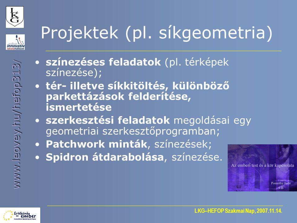 Projektek (pl. síkgeometria)