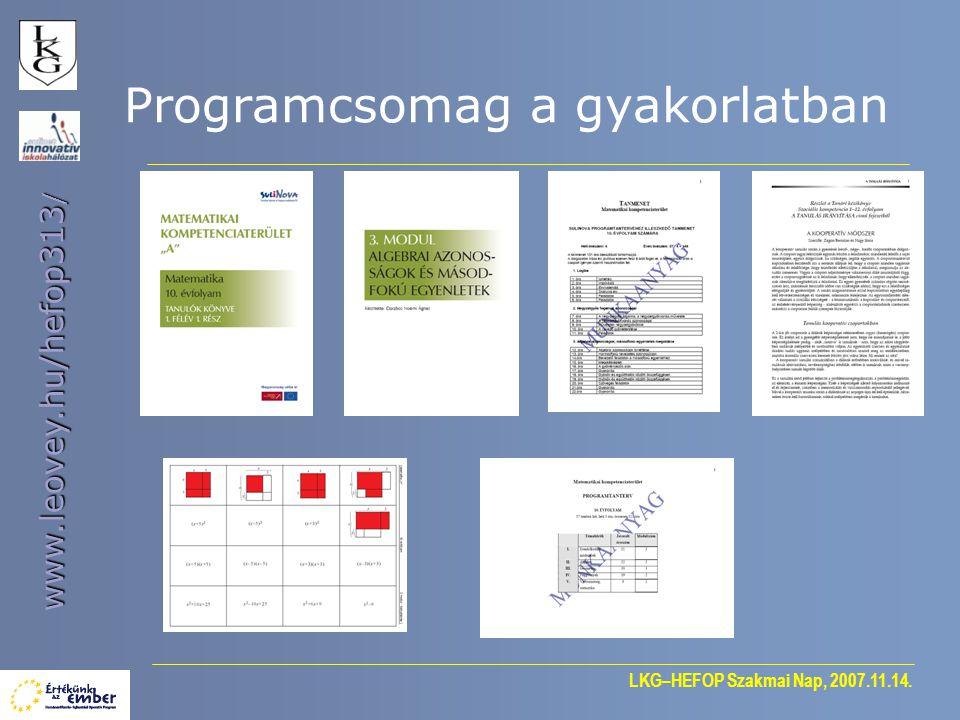 Programcsomag a gyakorlatban