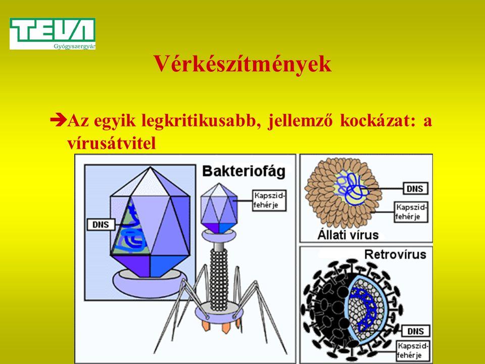Vérkészítmények Az egyik legkritikusabb, jellemző kockázat: a vírusátvitel