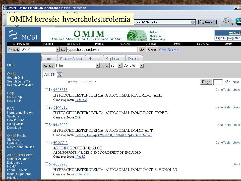 OMIM keresés: hypercholesterolemia
