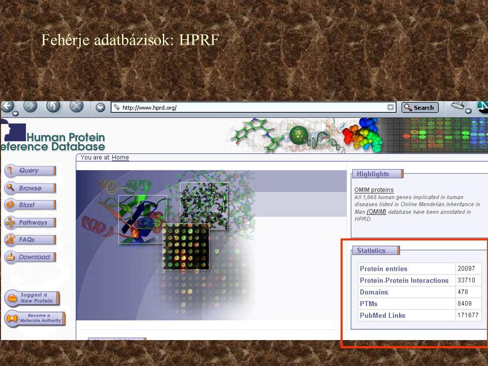 Fehérje adatbázisok: HPRF