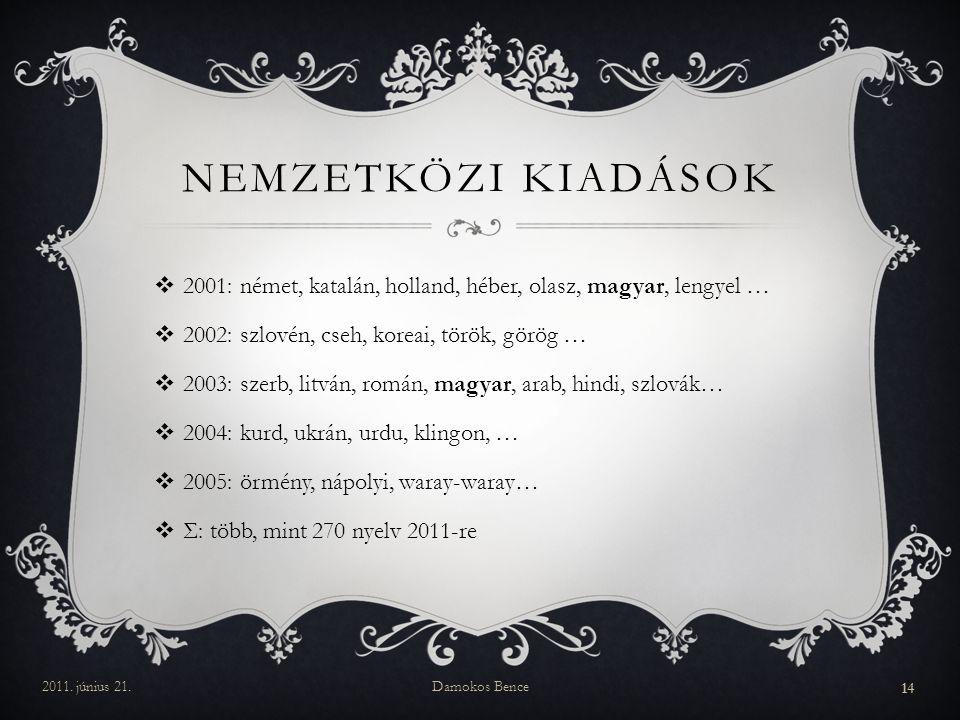 Nemzetközi kiadások 2001: német, katalán, holland, héber, olasz, magyar, lengyel … 2002: szlovén, cseh, koreai, török, görög …