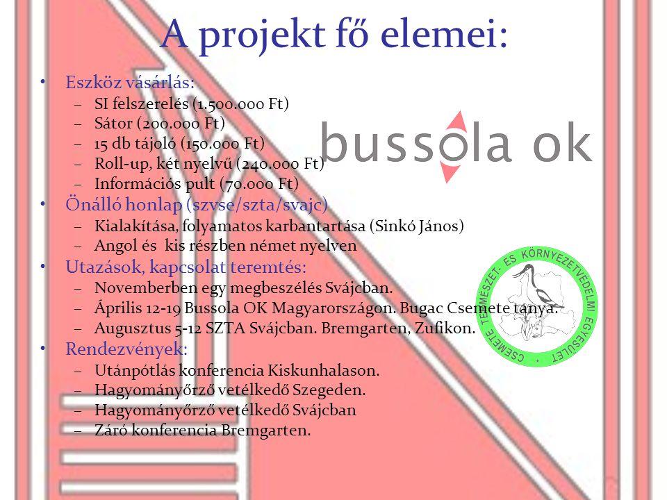 A projekt fő elemei: Eszköz vásárlás: Önálló honlap (szvse/szta/svajc)