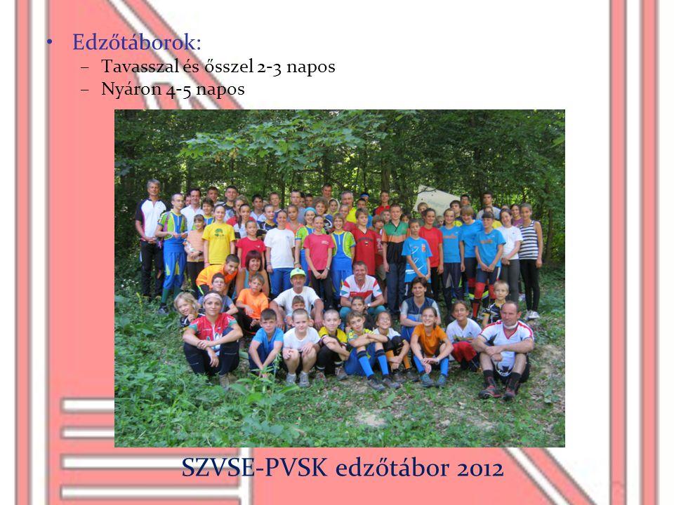 SZVSE-PVSK edzőtábor 2012 Edzőtáborok: Tavasszal és ősszel 2-3 napos