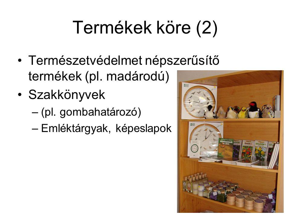 Termékek köre (2) Természetvédelmet népszerűsítő termékek (pl. madárodú) Szakkönyvek. (pl. gombahatározó)