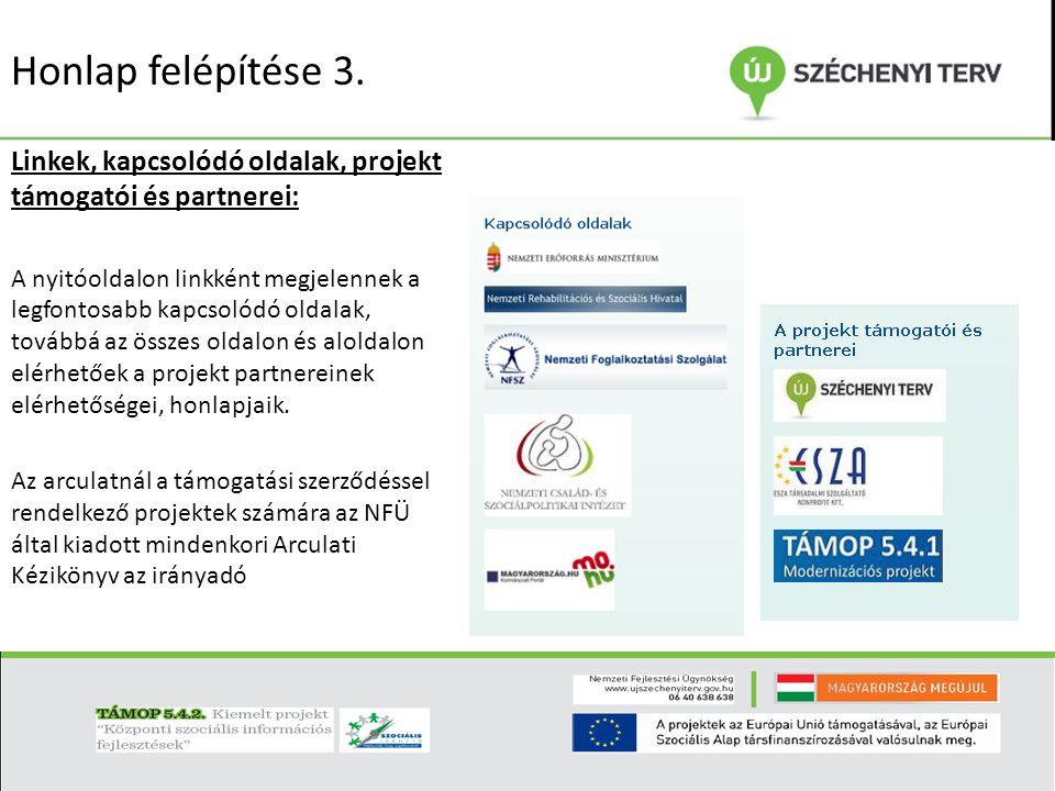Honlap felépítése 3. Linkek, kapcsolódó oldalak, projekt támogatói és partnerei: