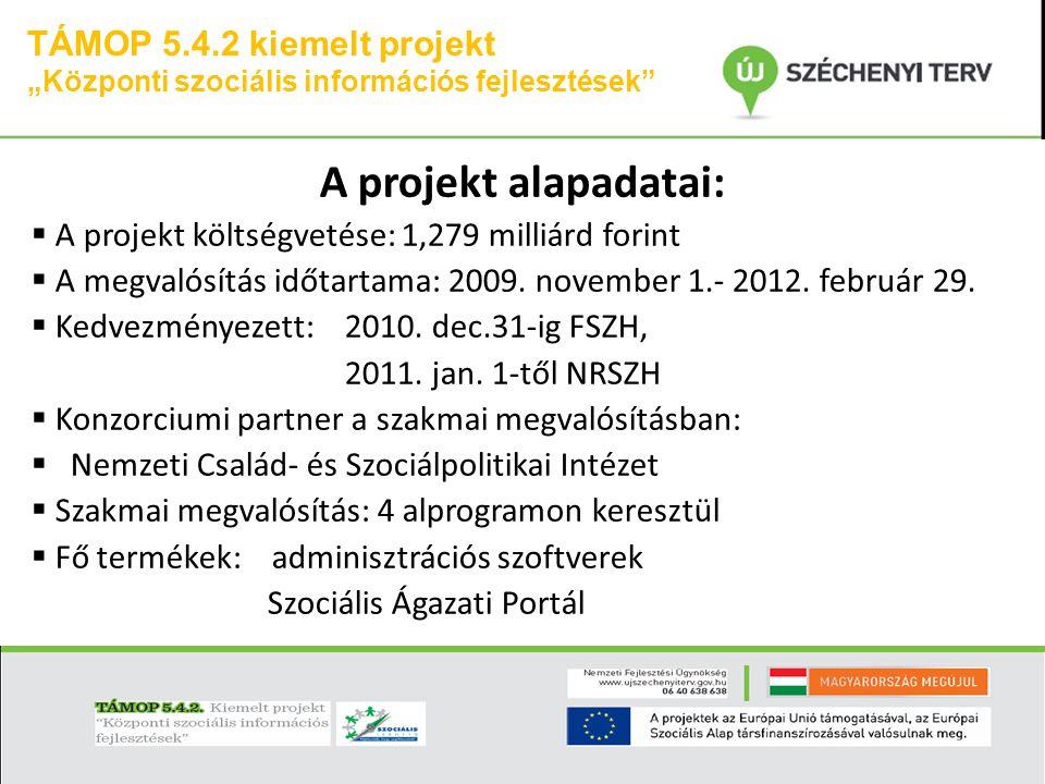 A projekt alapadatai: TÁMOP 5.4.2 kiemelt projekt