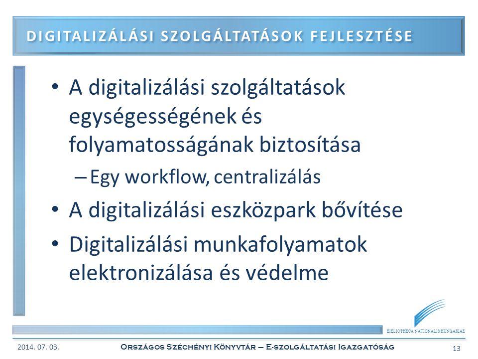 Digitalizálási szolgáltatások fejlesztése