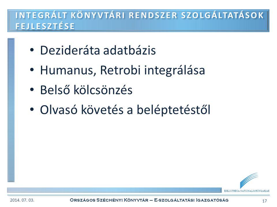 Integrált könyvtári rendszer szolgáltatások fejlesztése