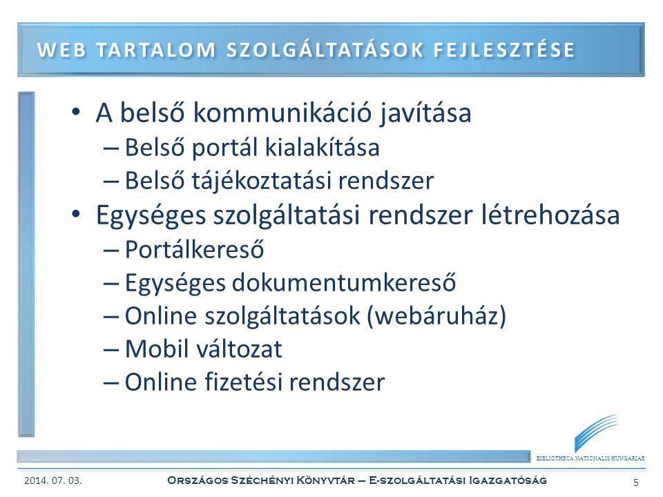 Web tartalom szolgáltatások fejlesztése