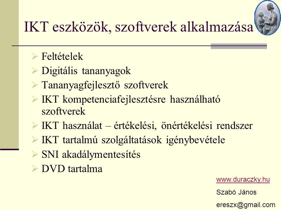 IKT eszközök, szoftverek alkalmazása