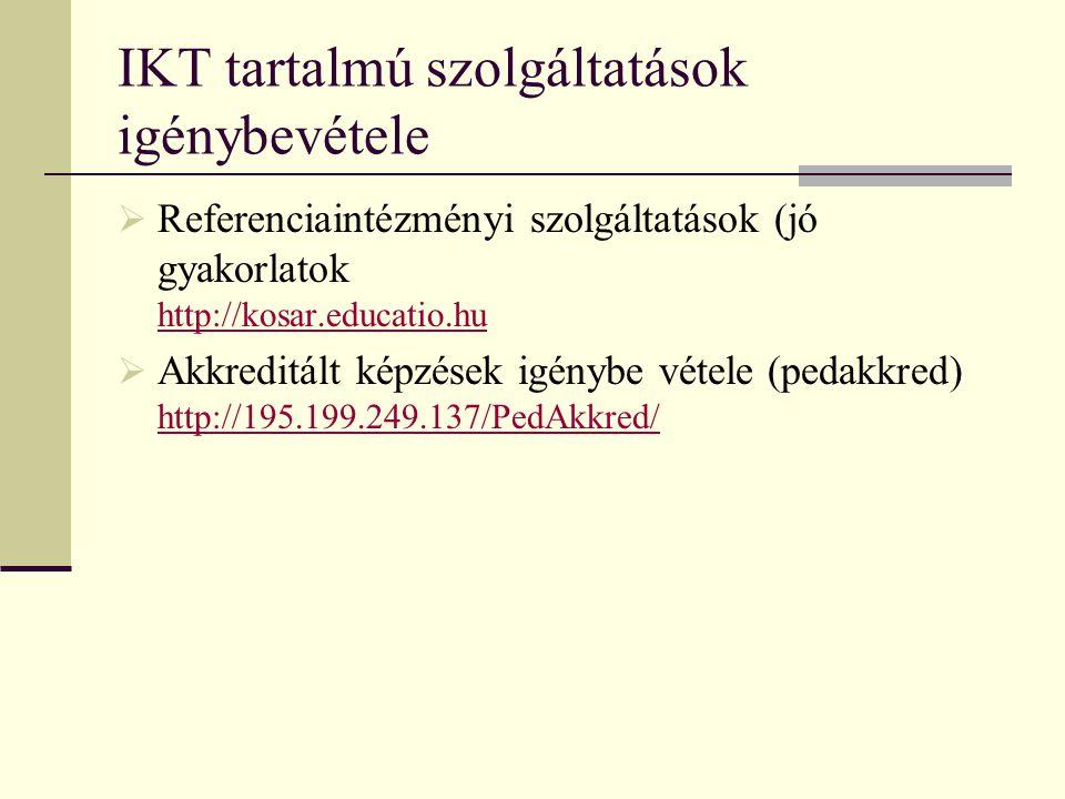 IKT tartalmú szolgáltatások igénybevétele