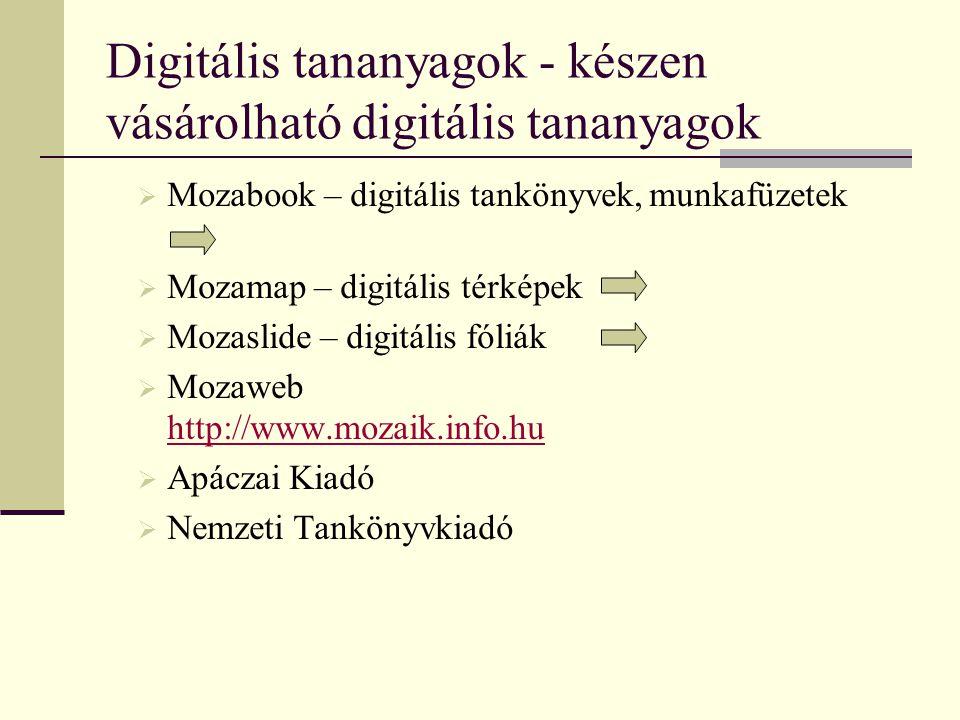 Digitális tananyagok - készen vásárolható digitális tananyagok