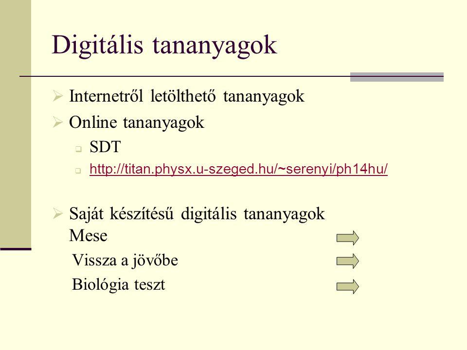 Digitális tananyagok Internetről letölthető tananyagok