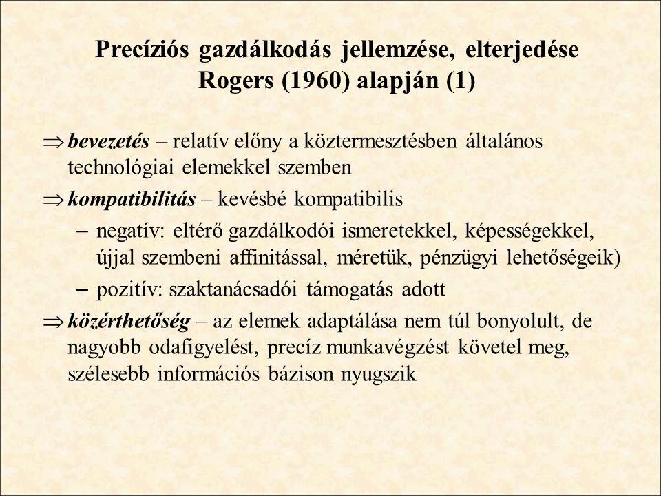 Precíziós gazdálkodás jellemzése, elterjedése Rogers (1960) alapján (1)