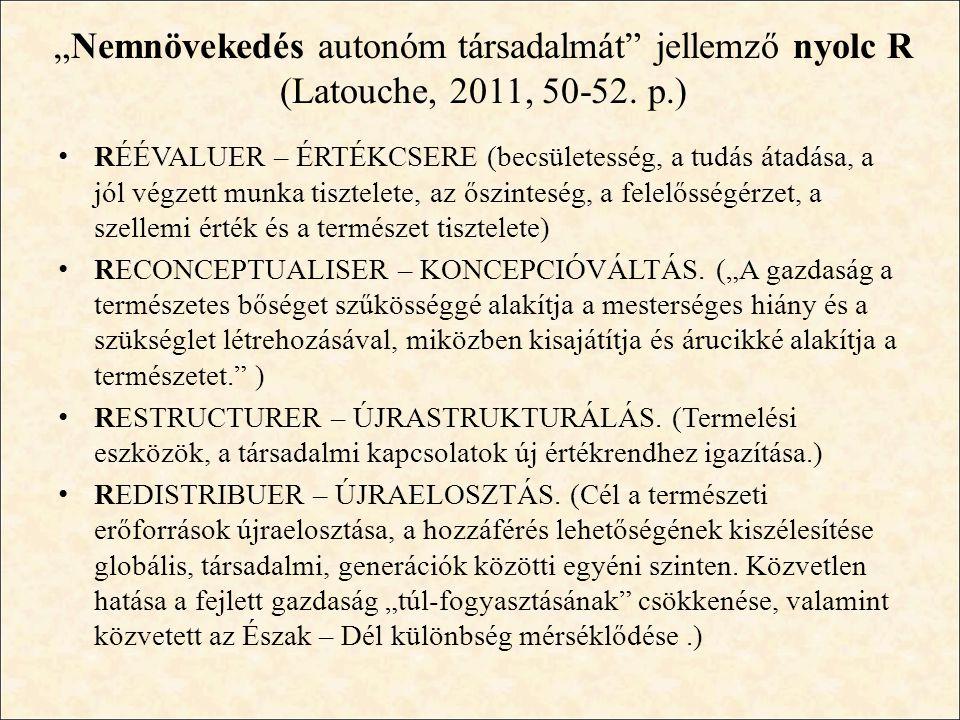 """""""Nemnövekedés autonóm társadalmát jellemző nyolc R (Latouche, 2011, 50-52. p.)"""