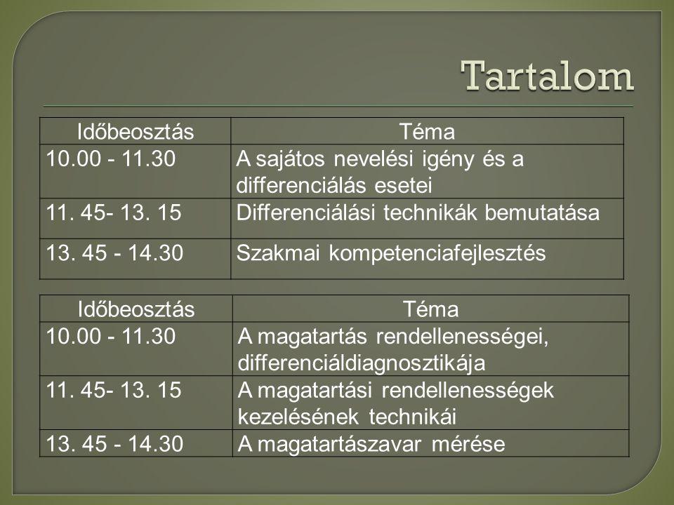 Tartalom Időbeosztás Téma 10.00 - 11.30