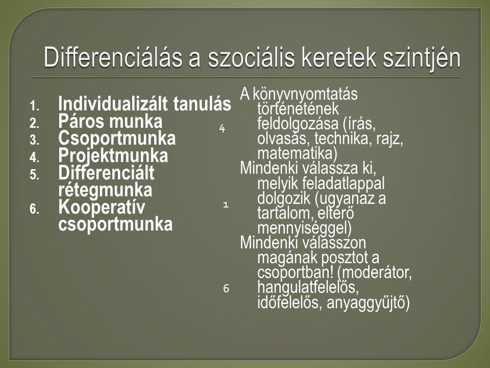 Differenciálás a szociális keretek szintjén