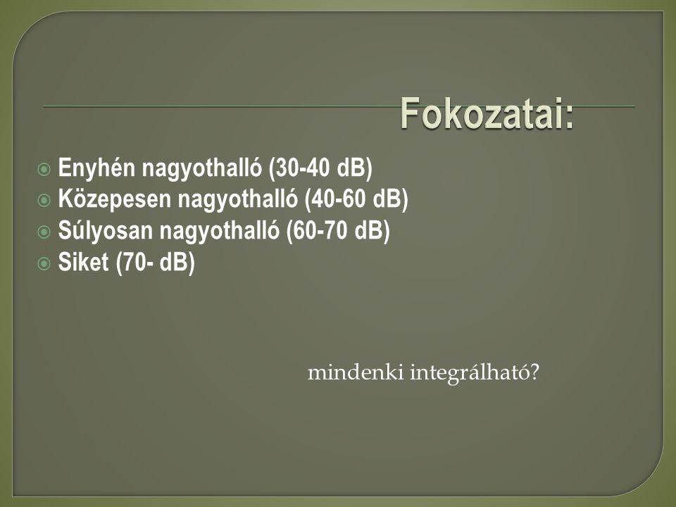 Fokozatai: Enyhén nagyothalló (30-40 dB)