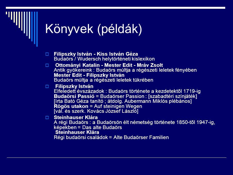 Könyvek (példák) Filipszky István - Kiss István Géza Budaörs / Wudersch helytörténeti kislexikon.