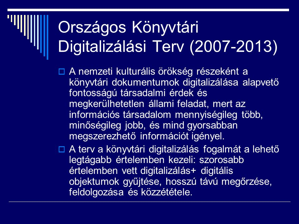 Országos Könyvtári Digitalizálási Terv (2007-2013)