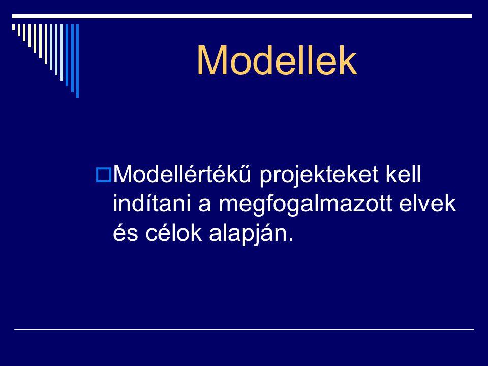 Modellek Modellértékű projekteket kell indítani a megfogalmazott elvek és célok alapján.