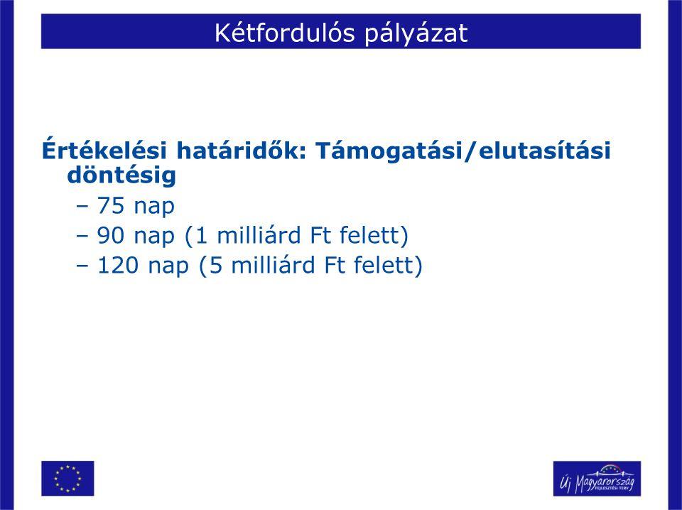 Kétfordulós pályázat Értékelési határidők: Támogatási/elutasítási döntésig. 75 nap. 90 nap (1 milliárd Ft felett)