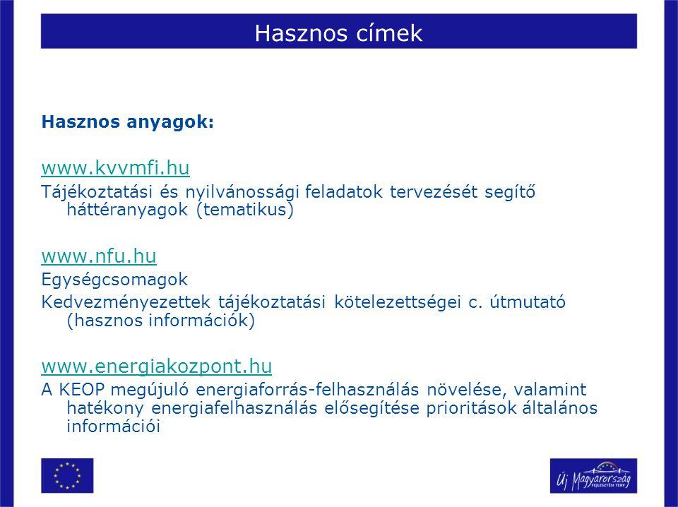 Hasznos címek www.kvvmfi.hu www.nfu.hu www.energiakozpont.hu