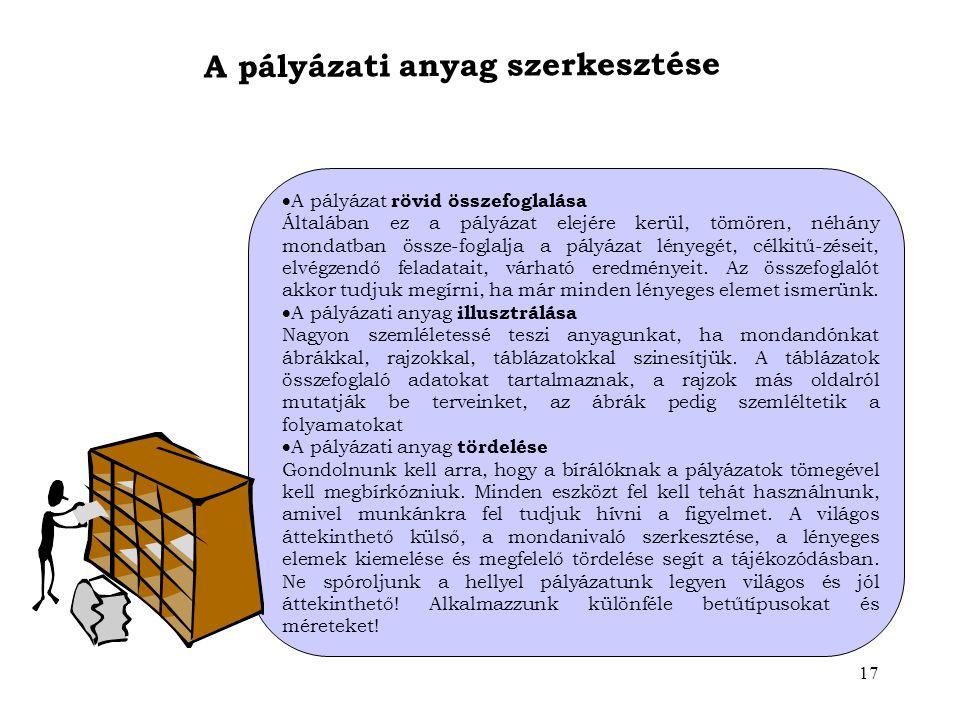 A pályázati anyag szerkesztése