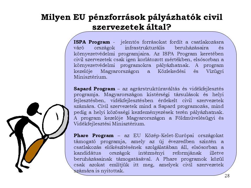 Milyen EU pénzforrások pályázhatók civil szervezetek által