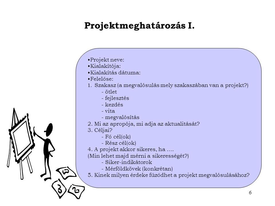 Projektmeghatározás I.