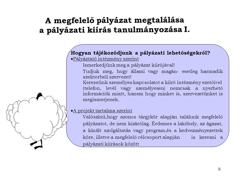 A megfelelő pályázat megtalálása a pályázati kiírás tanulmányozása I.