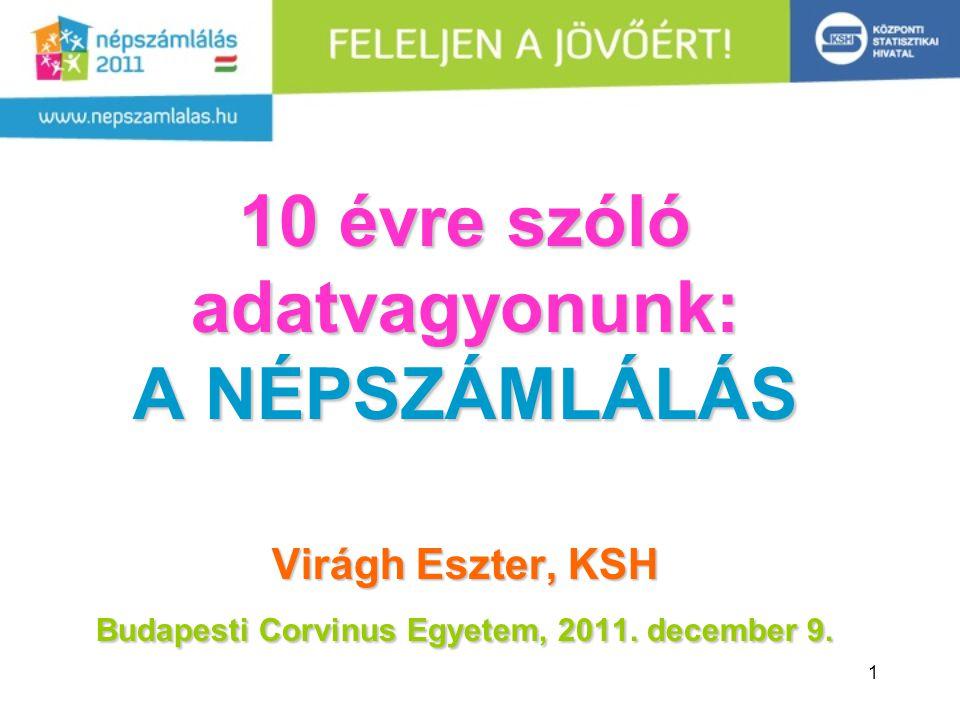 10 évre szóló adatvagyonunk: A NÉPSZÁMLÁLÁS Virágh Eszter, KSH Budapesti Corvinus Egyetem, 2011.