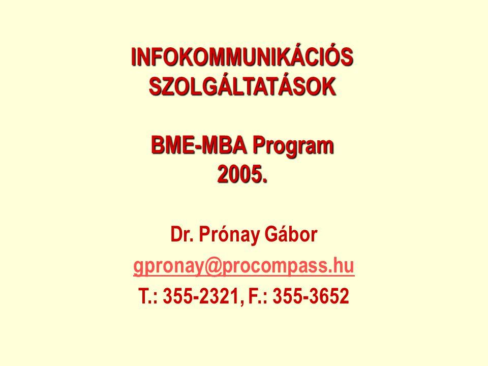INFOKOMMUNIKÁCIÓS SZOLGÁLTATÁSOK BME-MBA Program 2005.