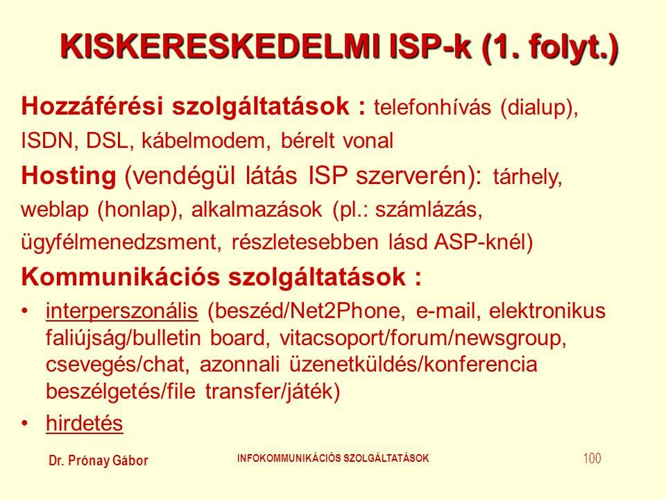 KISKERESKEDELMI ISP-k (1. folyt.) INFOKOMMUNIKÁCIÓS SZOLGÁLTATÁSOK