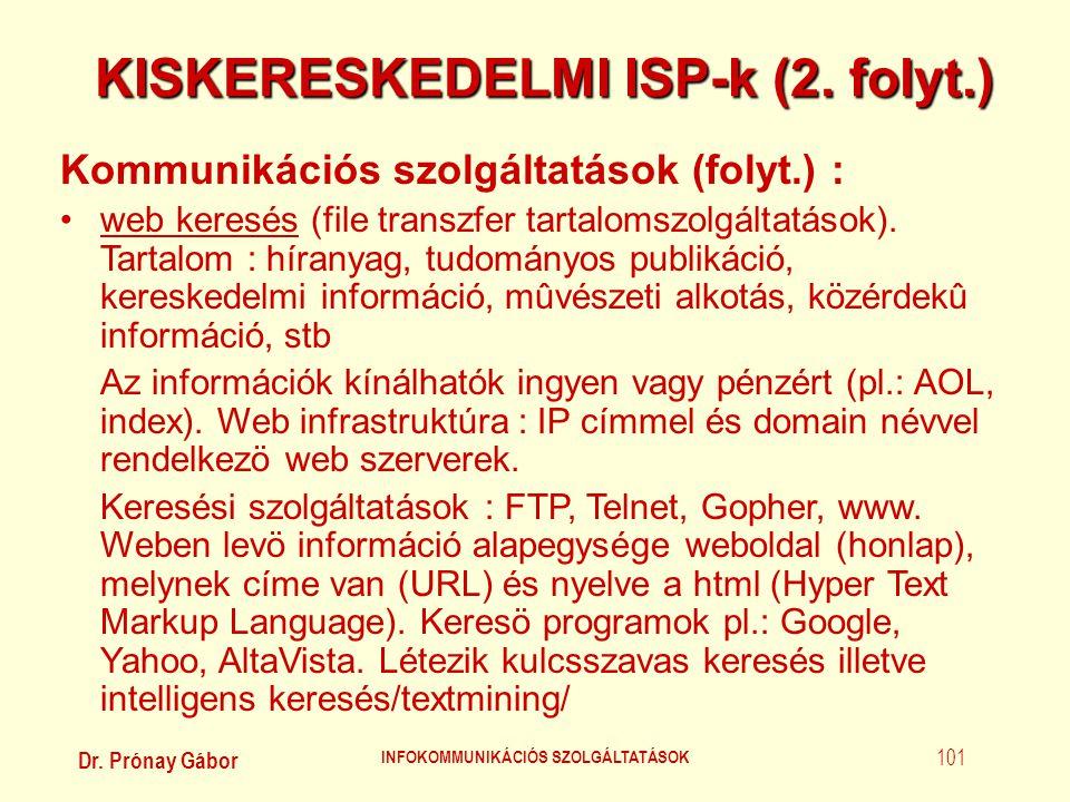 KISKERESKEDELMI ISP-k (2. folyt.) INFOKOMMUNIKÁCIÓS SZOLGÁLTATÁSOK