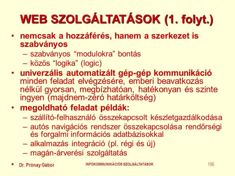 WEB SZOLGÁLTATÁSOK (1. folyt.) INFOKOMMUNIKÁCIÓS SZOLGÁLTATÁSOK