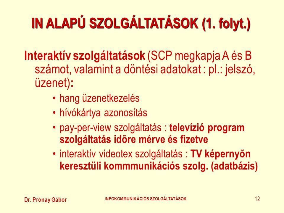 IN ALAPÚ SZOLGÁLTATÁSOK (1. folyt.) INFOKOMMUNIKÁCIÓS SZOLGÁLTATÁSOK