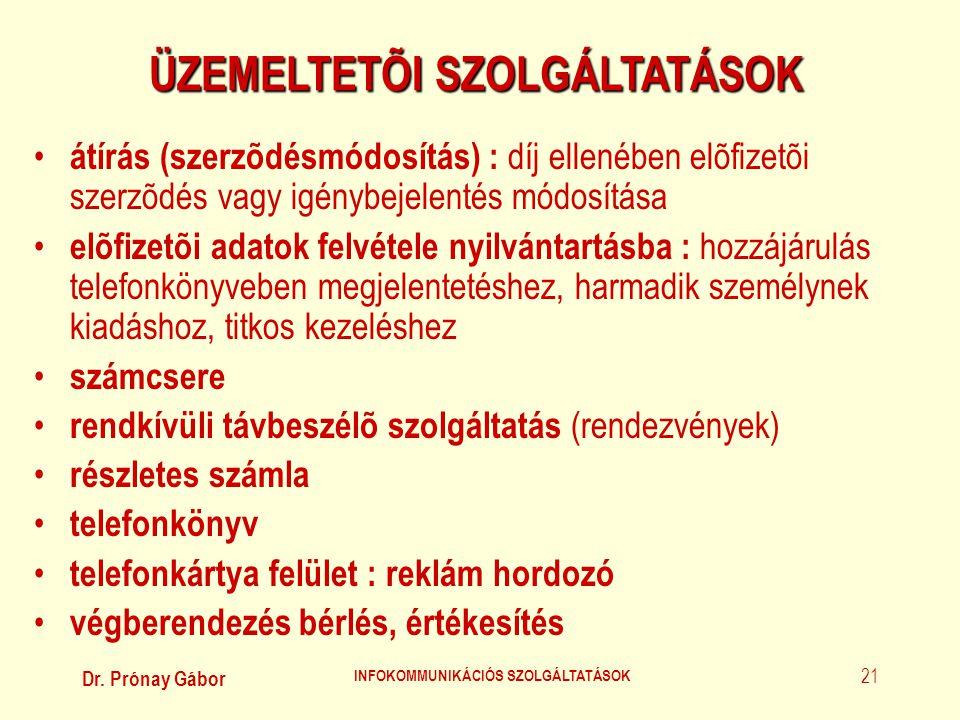 ÜZEMELTETÕI SZOLGÁLTATÁSOK INFOKOMMUNIKÁCIÓS SZOLGÁLTATÁSOK