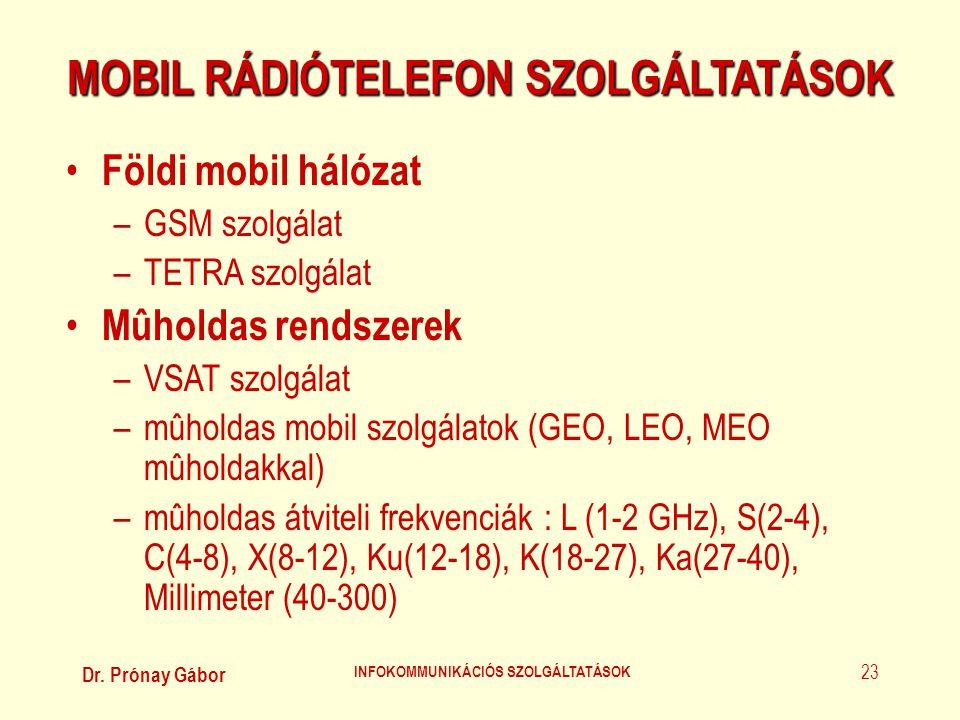 MOBIL RÁDIÓTELEFON SZOLGÁLTATÁSOK INFOKOMMUNIKÁCIÓS SZOLGÁLTATÁSOK