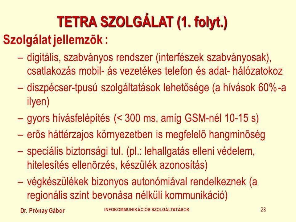 TETRA SZOLGÁLAT (1. folyt.) INFOKOMMUNIKÁCIÓS SZOLGÁLTATÁSOK