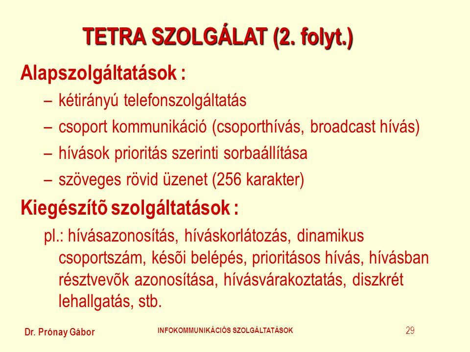TETRA SZOLGÁLAT (2. folyt.) INFOKOMMUNIKÁCIÓS SZOLGÁLTATÁSOK