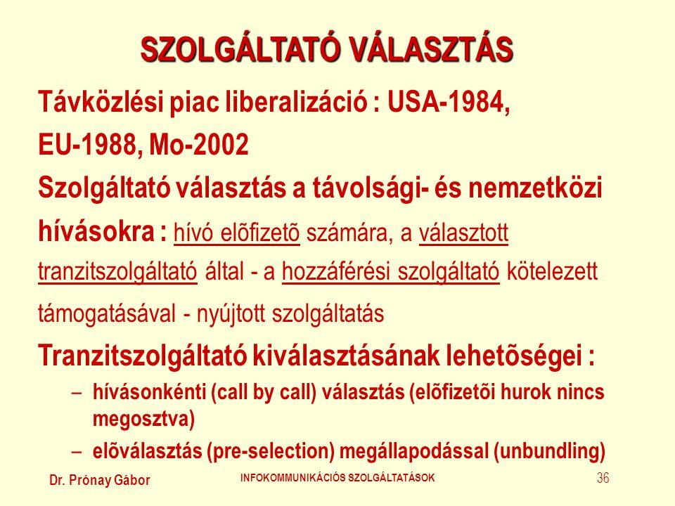 SZOLGÁLTATÓ VÁLASZTÁS INFOKOMMUNIKÁCIÓS SZOLGÁLTATÁSOK
