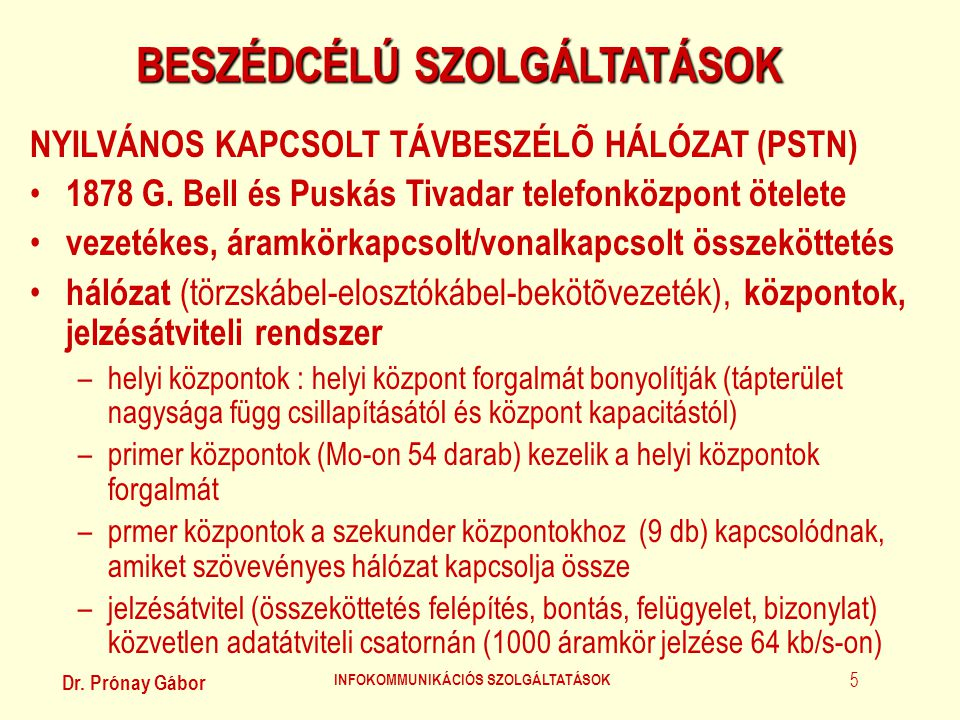 BESZÉDCÉLÚ SZOLGÁLTATÁSOK INFOKOMMUNIKÁCIÓS SZOLGÁLTATÁSOK