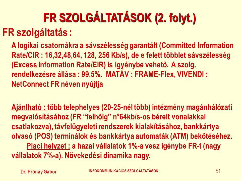 FR SZOLGÁLTATÁSOK (2. folyt.) INFOKOMMUNIKÁCIÓS SZOLGÁLTATÁSOK