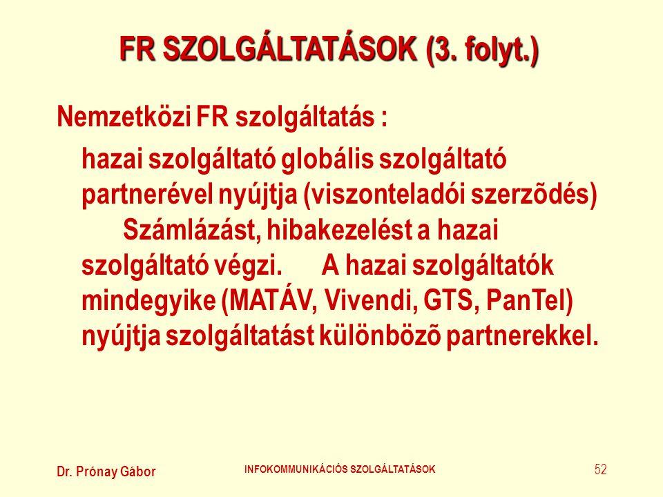 FR SZOLGÁLTATÁSOK (3. folyt.) INFOKOMMUNIKÁCIÓS SZOLGÁLTATÁSOK
