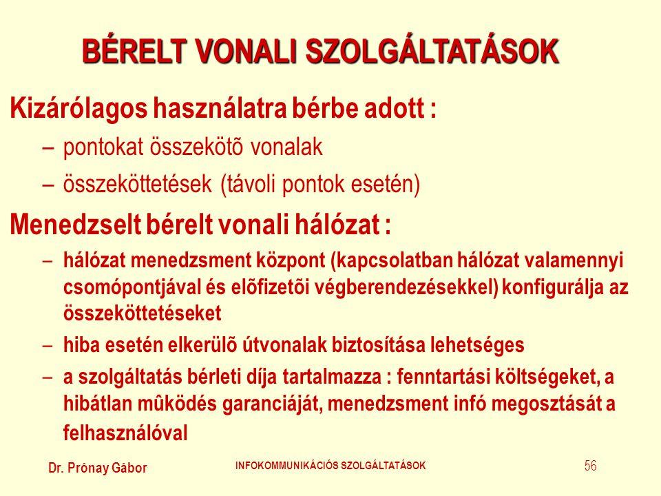 BÉRELT VONALI SZOLGÁLTATÁSOK INFOKOMMUNIKÁCIÓS SZOLGÁLTATÁSOK